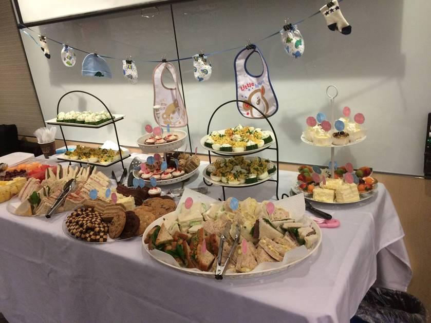 tea party, theme, baby shower, buffet, food, tea,